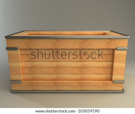 3d render of wooden box  high resolution