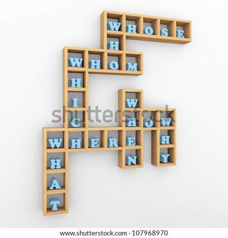 3d render of wooden shelf with question words crossword - stock photo