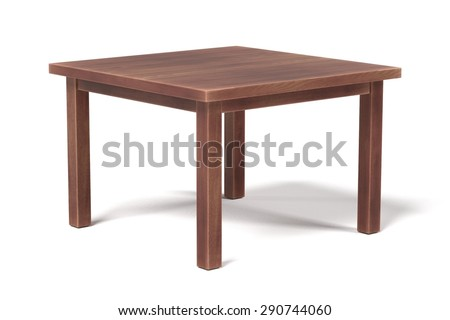 3d render of wooden table - stock photo