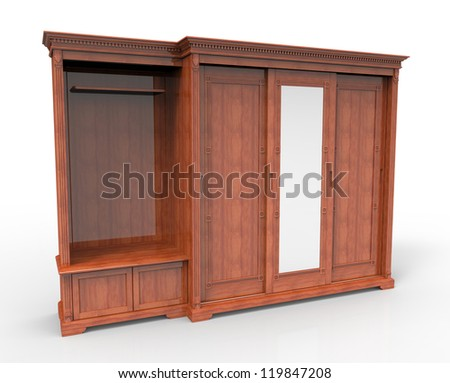 3d render of wooden wardrobe with sliding doors - stock photo