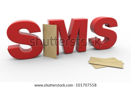 3d render of word sms (short message service) with envelopes - stock photo