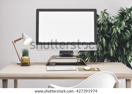 3d render of workspace mockup