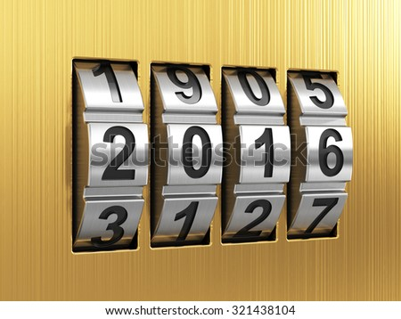 3d render of 2016 Year combination lock  - stock photo