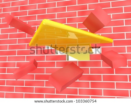 3d render of yellow arrow breaking brick wall - stock photo