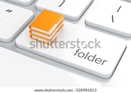 3d render of yellow folders set on the computer keyboard. Search and storage concept