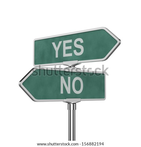 3d render of Yes and No concept roadsign board isolated on white background - stock photo
