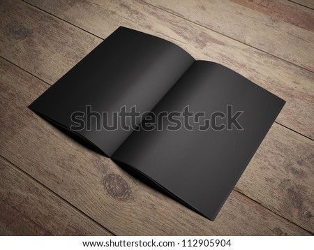 3d render open black book on wooden texture - stock photo