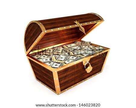 3D Render Open Wooden chest, golden chest full of 100 dollars bills on the white background - stock photo