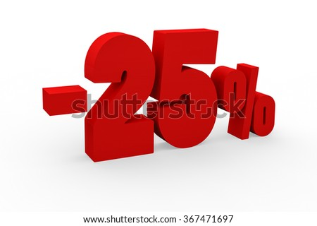 3d render 25 percent discount on a white background.