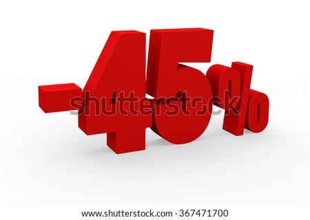 3d render 45 percent discount on a white background.