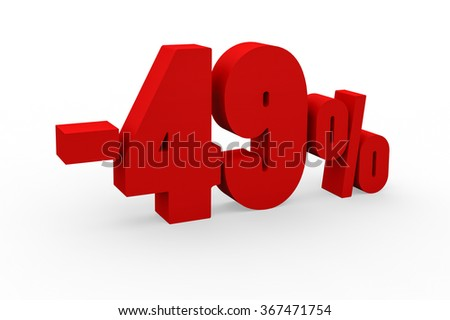 3d render 49 percent discount on a white background.