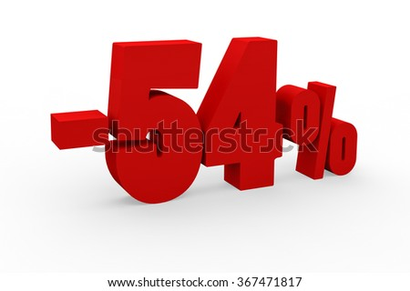 3d render 54 percent discount on a white background.