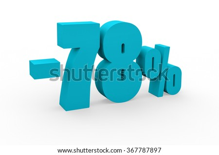 3d render 78 percent discount on a white background.