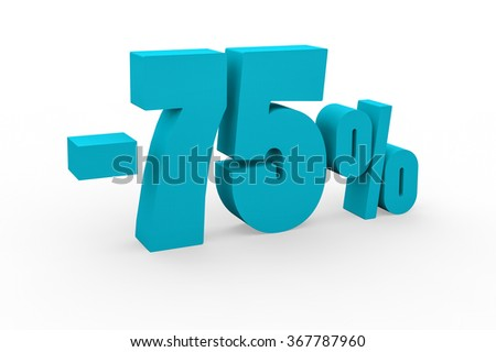 3d render 75 percent discount on a white background.
