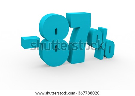 3d render 87 percent discount on a white background.