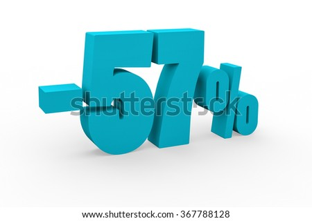 3d render 57 percent discount on a white background.