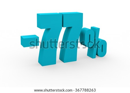 3d render 77 percent discount on a white background.