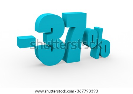 3d render 37 percent discount on a white background.