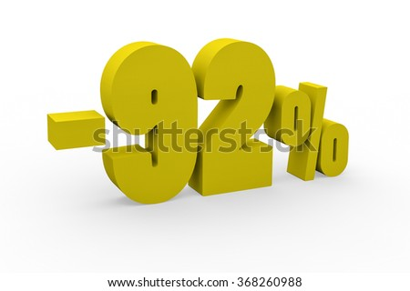 3d render 92 percent discount on a white background.