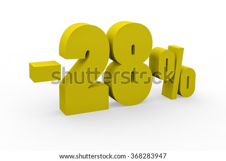 3d render 28 percent discount on a white background.