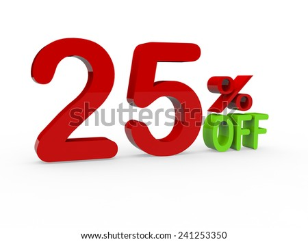 3d render 25 percent off on a white background - stock photo