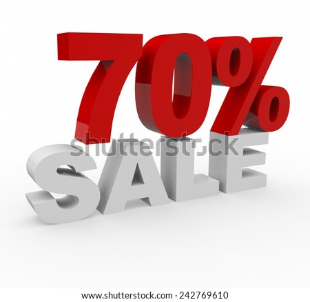3d render 70 percent off on a white background.