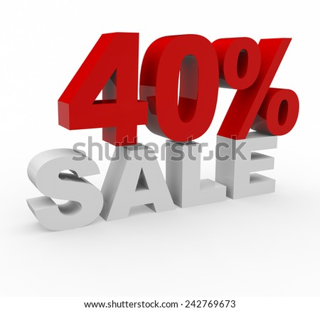3d render 40 percent off on a white background.