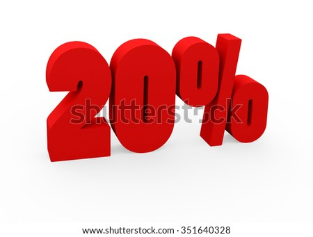 3d render 20 percent on a white background.  - stock photo