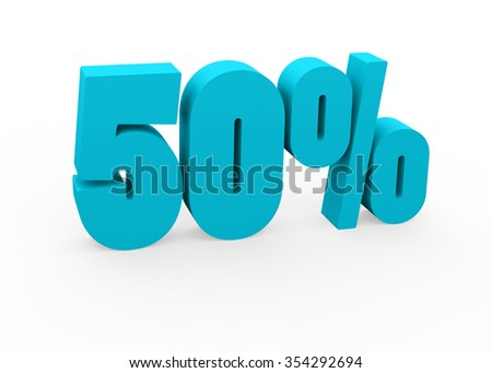 3d render 50 percent on a white background. - stock photo