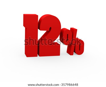 3d render 12 percent on a white background.  - stock photo