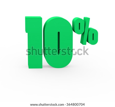 3d render 10 percent on a white background.  - stock photo
