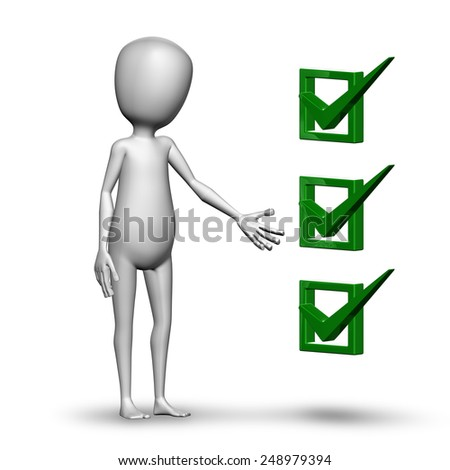 3D render,person and a checklist - stock photo