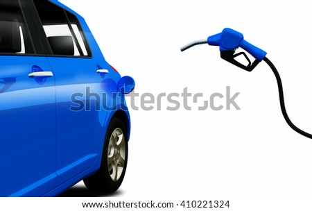 3d render, petrol pump nozzle is filling up blue car - stock photo