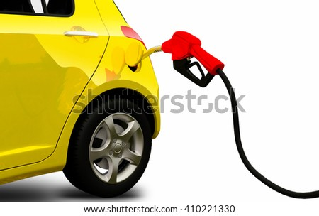 3d render, petrol pump nozzle is filling up yellow car - stock photo