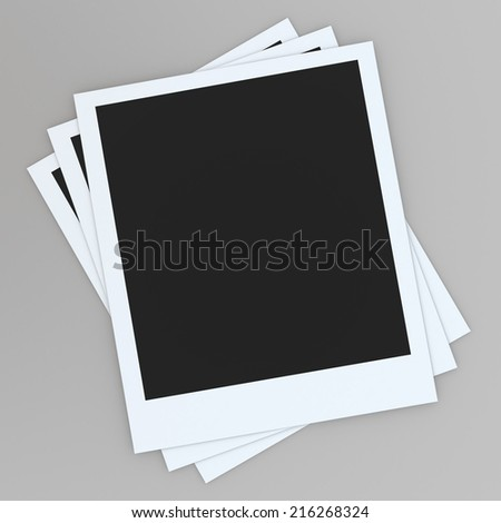 3D render photo frames paper card in isolated background with work paths, clipping paths included - stock photo