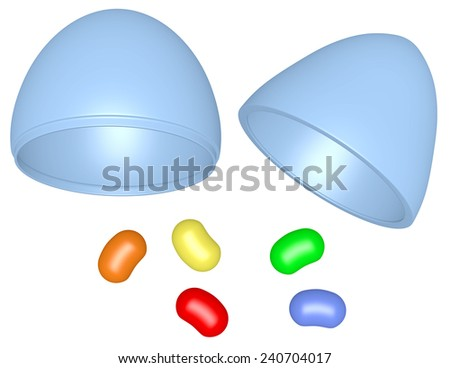 3d Render Plastic Easter Egg with Jelly Beans