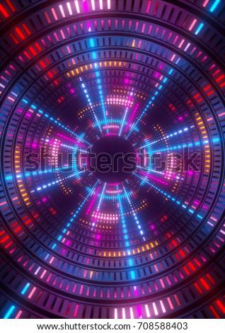 3d Render Purple Blue Pink Neon Stock Illustration