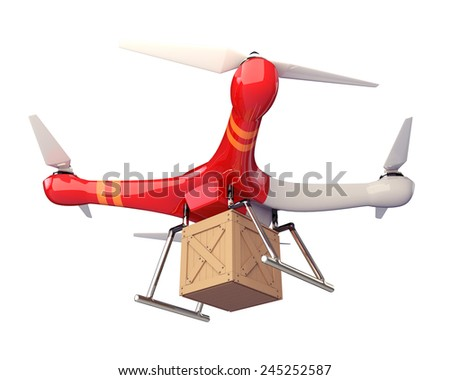 3D Render Quad Copter UAV  Carrying Crate in Isolated Background, Work Paths, Clipping Paths Included.