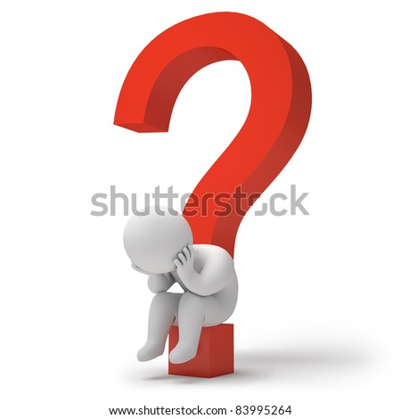 3d render question marks - stock photo