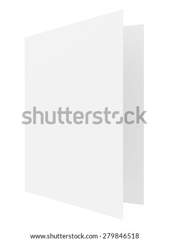 3d render realistic blank paper isolated on white background. - stock photo