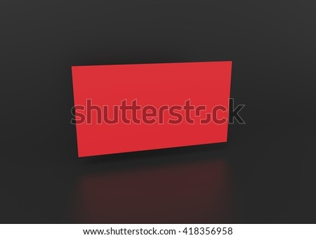 3d render red blank business card on black background
