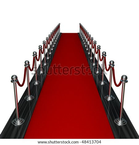 3d render red carpet entrance isolated on white background