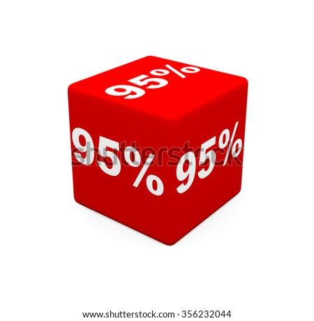 3d render red cube with 95 percent on a white background.