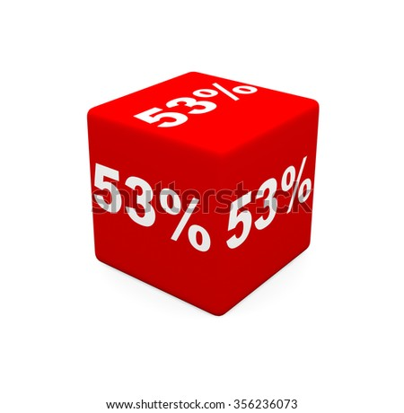 3d render red cube with 53 percent on a white background.