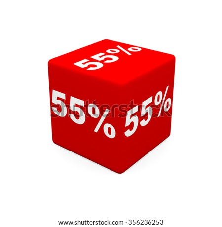 3d render red cube with 55 percent on a white background.