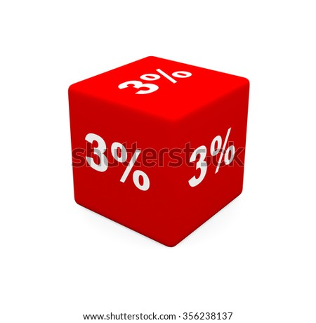 3d render red cube with 3 percent on a white background.