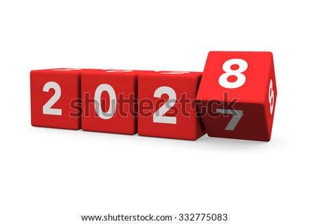3d render red cubes New Year 2028 and past year on a white background.