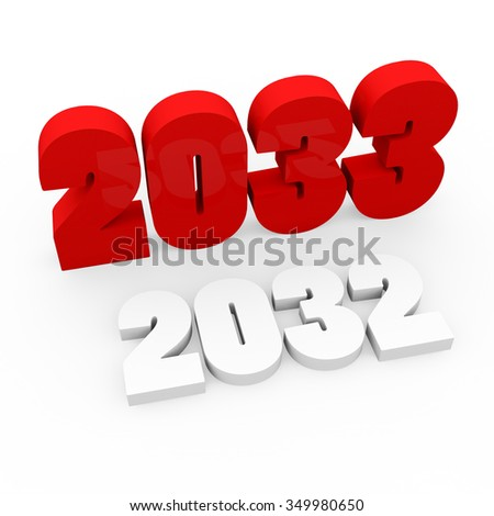 3d render red cubes New Year 2033 and past year on a white background.