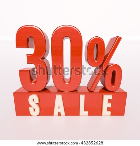 3d render: red 30 percent, percentage discount sign on white, 30% off, Illustration for sale actions - stock photo
