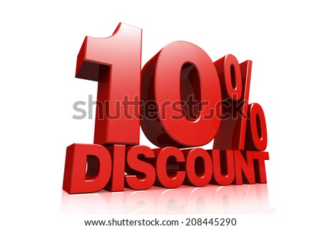 3D render red text 10 percent discount on white background with reflection - stock photo